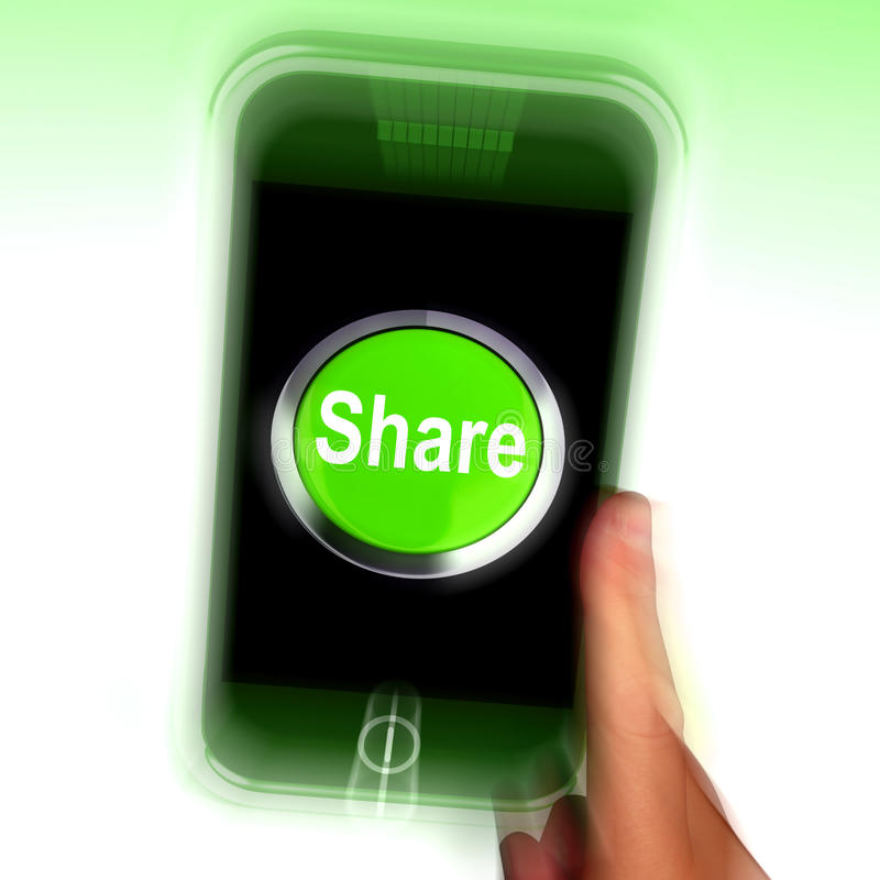 Share Mobile Means Online Sharing And Community stock illustration