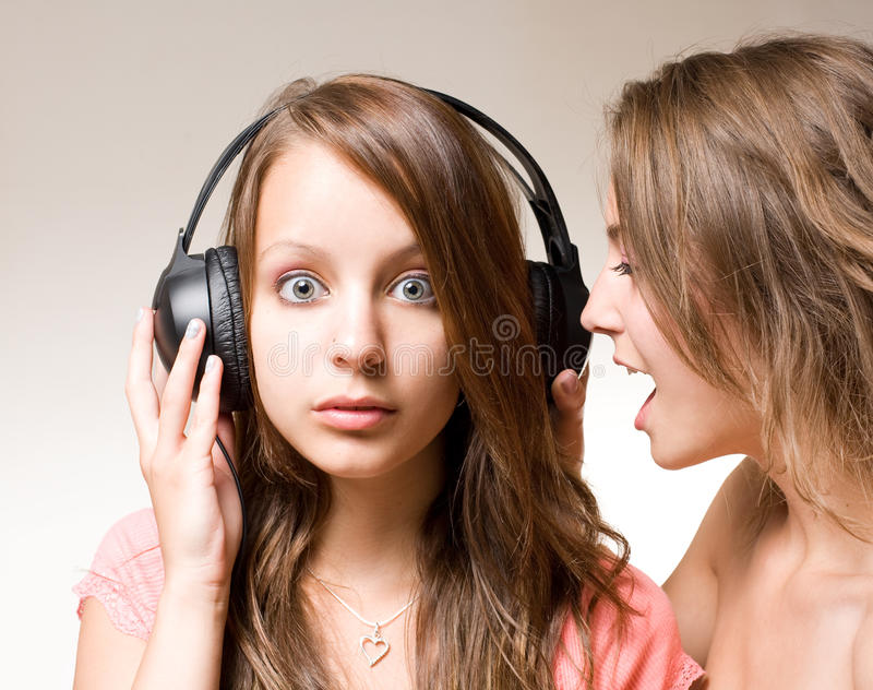 Download Share the music!! stock photo. Image of teen, brunette - 19786434
