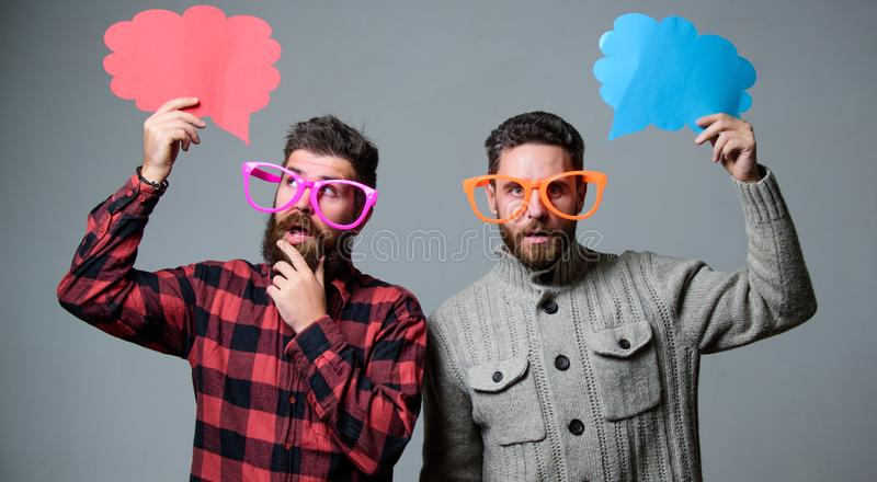 Share opinion speech bubble copy space. Comic and humor sense. Men with beard and mustache mature hipster wear funny stock photo