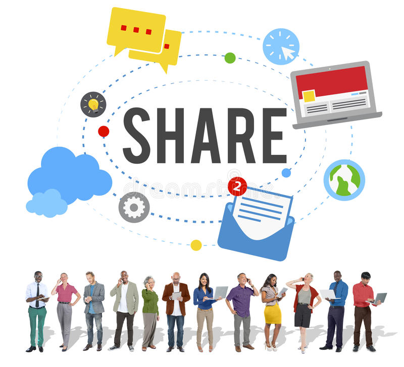 Share Post Media Trending Social Media Concept stock photography