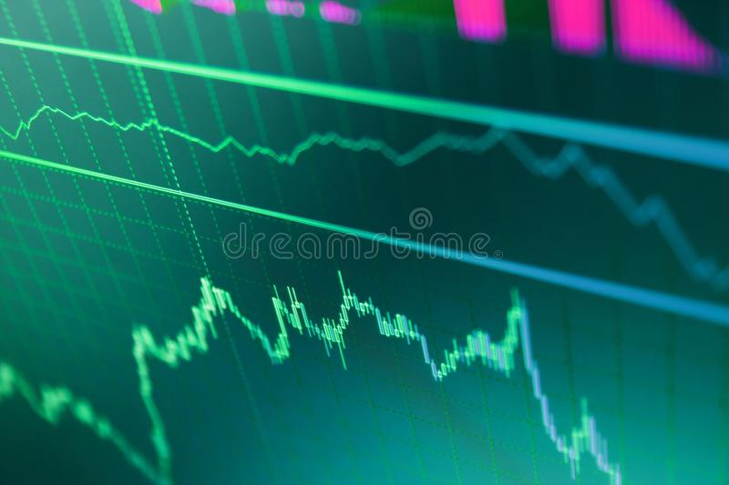 Share price quotes. Finance concept. Market report on blue background. Blue background with stock chart. Candle stick graph chart royalty free stock images