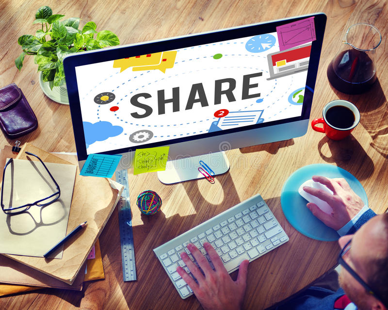 Share Sharing Connection Social Networking Concept stock photos