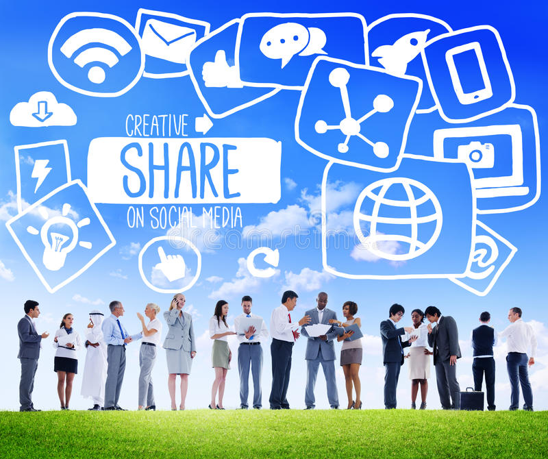 Share Sharing Social Media Networking Online Download Concept royalty free stock image