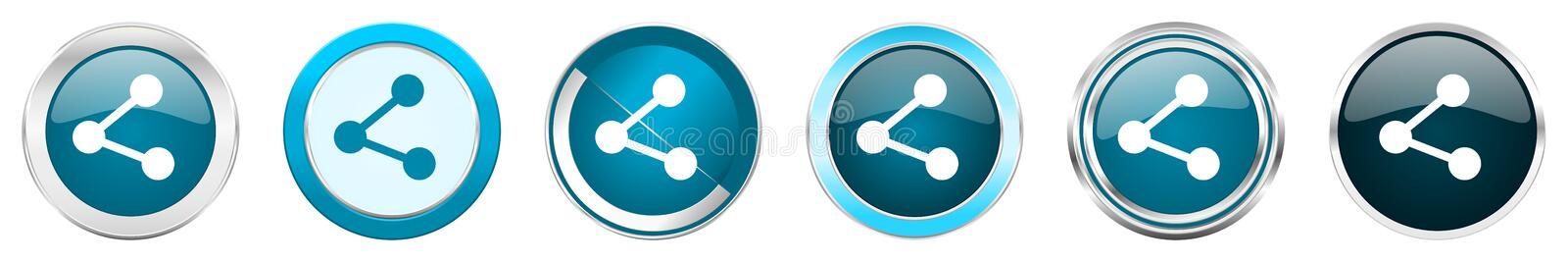 Share silver metallic chrome border icons in 6 options, set of web blue round buttons isolated on white background.  stock illustration