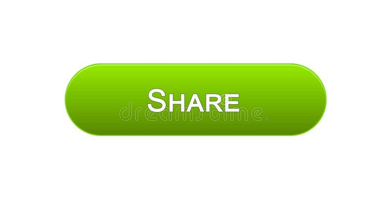 Share web interface button green color, social network, internet site design. Stock footage vector illustration