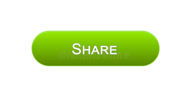 Share web interface button green color, social network, internet site design. Stock footage stock illustration
