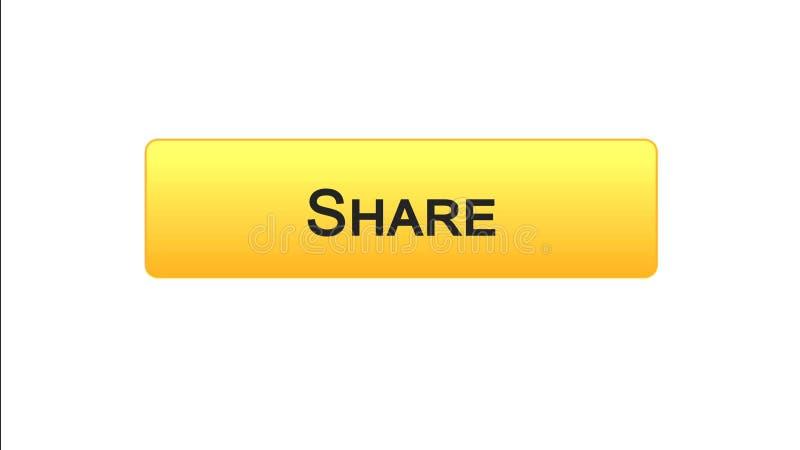 Share web interface button orange color, social network application, site design. Stock footage vector illustration