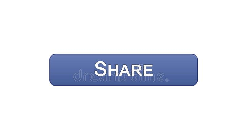 Share web interface button violet color, social network application, site design. Stock footage stock illustration