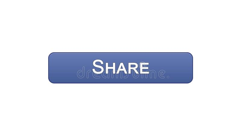 Share web interface button violet color, social network application, site design. Stock footage royalty free illustration