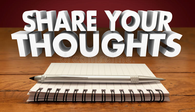 Share Your Thoughts Comments Review Feedback. Notebook Pen stock illustration