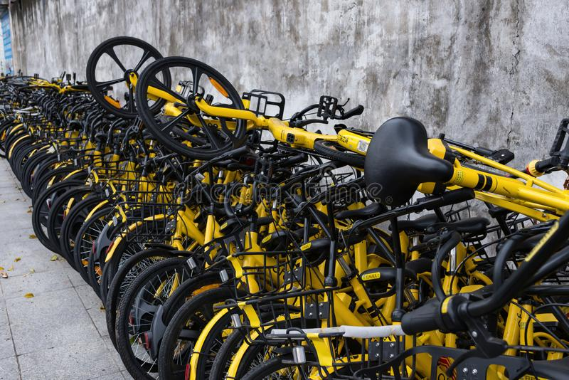 Shared bikes put aside the roa stock photos