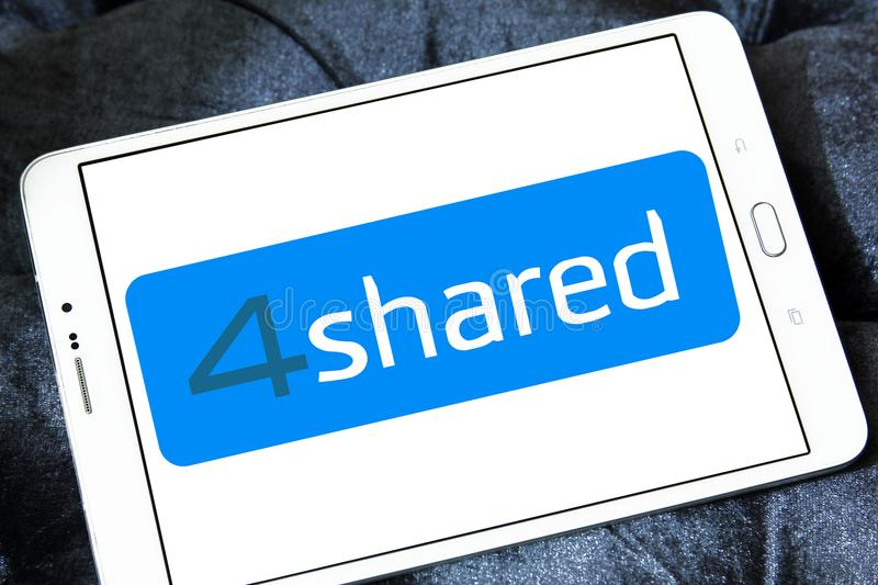 4shared online file sharing and storage logo. Logo of 4shared online file sharing and storage on samsung tablet stock photos