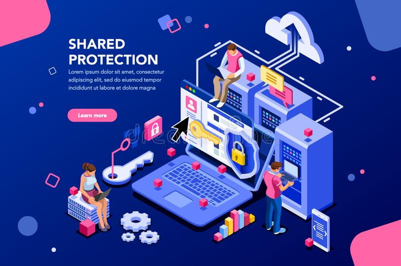 Shared Protection Web Hosting Concept. Online administrator, web hosting concept. Technician repair software. Hardware protection share infographic. Store safe stock illustration