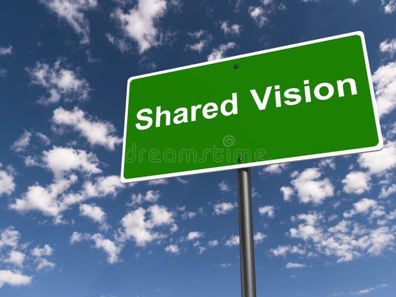 Shared vision traffic sign. On blue sky stock illustration