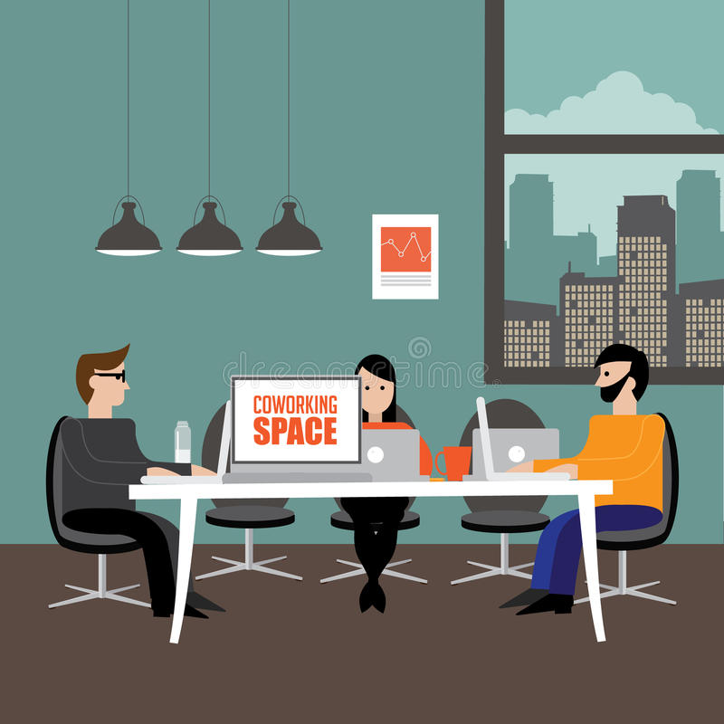 Free Shared Workspace In Flat Design Style. Stock Photography - 66721272
