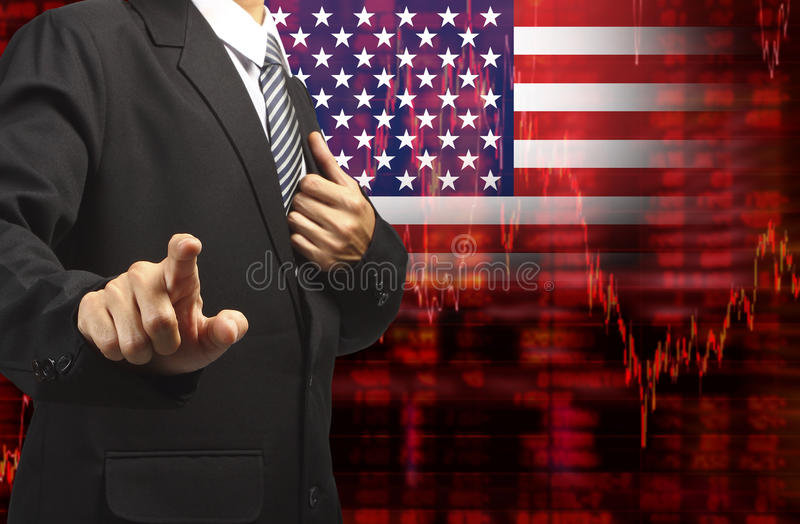 Shares fall graph with business man pushing stock illustration