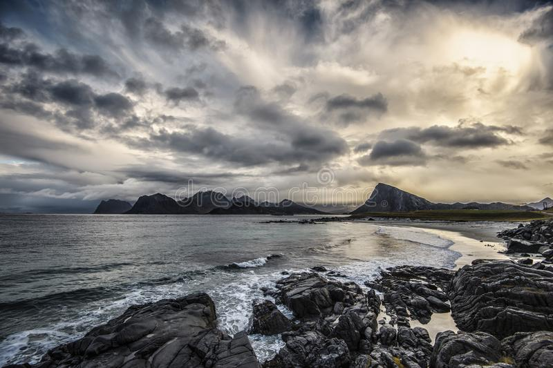 A sunset view from Sandnes in Lofoten islands. 717SHARES royalty free stock photo