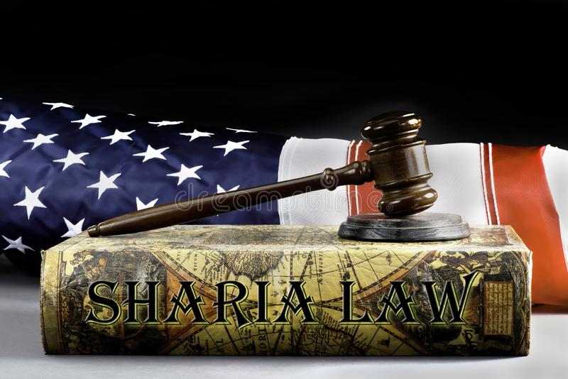 Sharia Law Book. And the American Law stock image