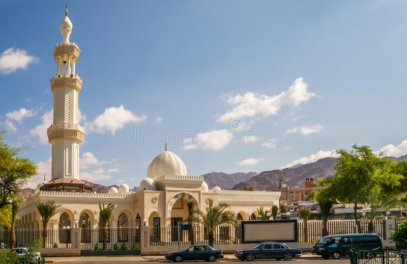Sharif Hussein Bin Ali Mosque i Aqaba royaltyfri fotografi