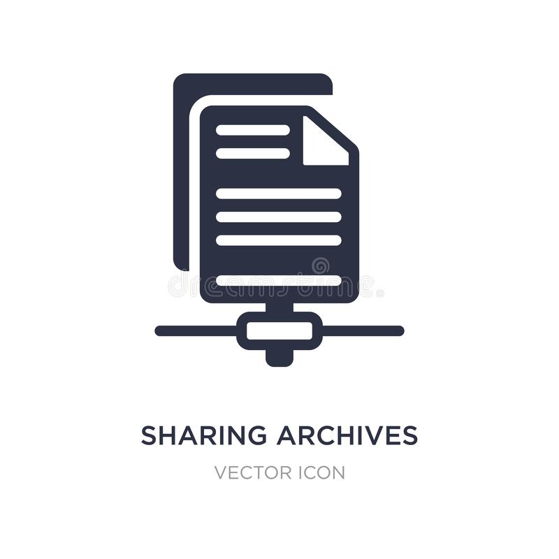 Sharing archives icon on white background. Simple element illustration from Search engine optimization concept. Sharing archives sign icon symbol design stock illustration