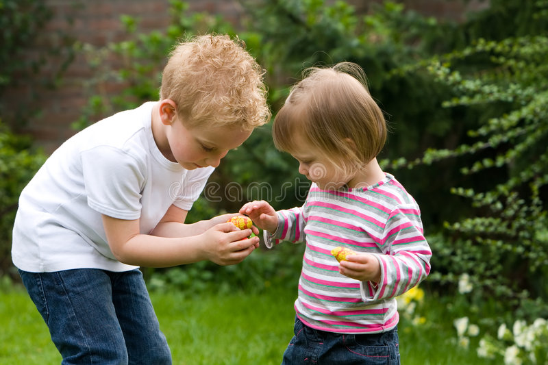 Sharing candy stock photos