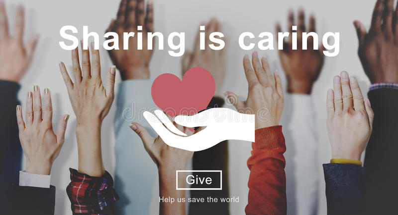 Sharing is Caring Money Donation Give Concept royalty free stock photo