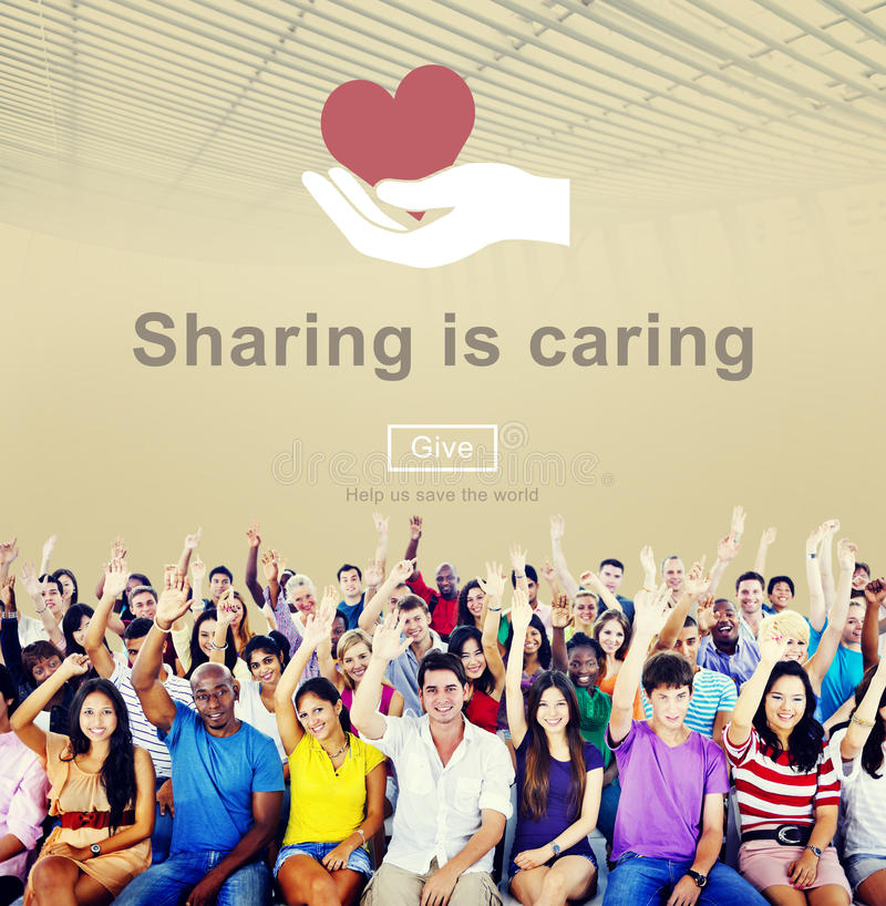 Sharing Caring Share Opinion Social Networking Concept stock photo
