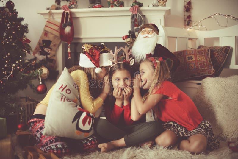 Sharing Christmas secrets royalty free stock photo