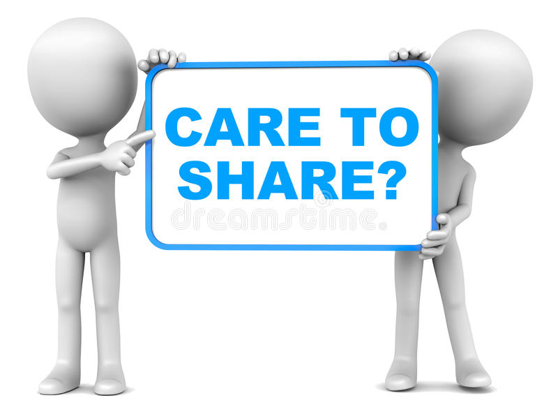 Sharing concept. Care to share? sharing concept, little men holding a banner with text in blue stock illustration