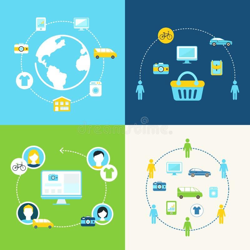 Sharing Economy and Collaborative Consumption Concept Illustration. Set stock illustration