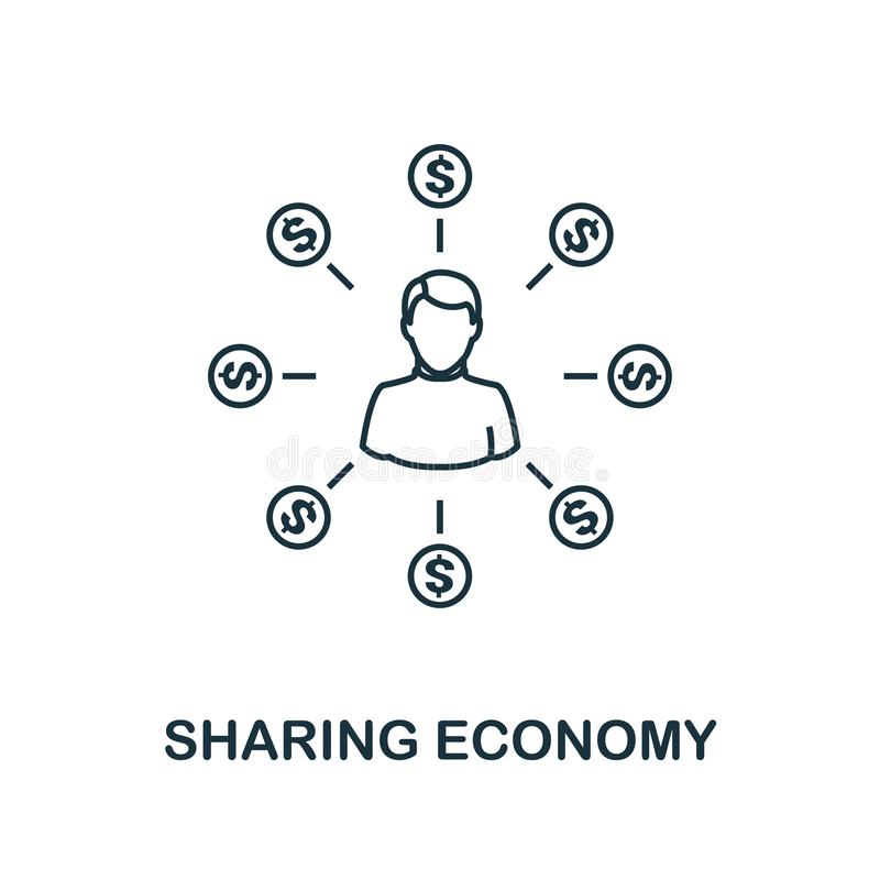 Sharing Economy icon outline style. Thin line design from fintech icons collection. Pixel perfect sharing economy icon stock illustration