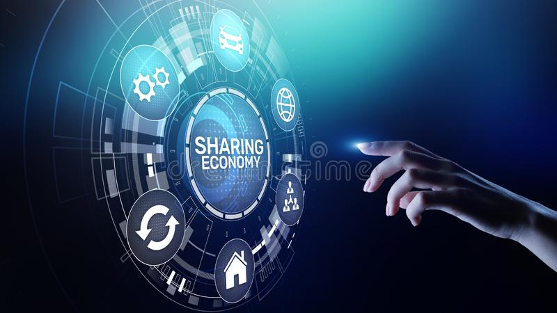 Sharing economy, innovation and future business technology concept on virtual screen. royalty free illustration