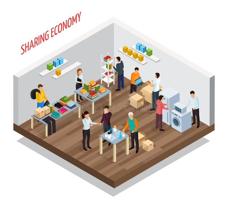Sharing Meetup Isometric Background vector illustration