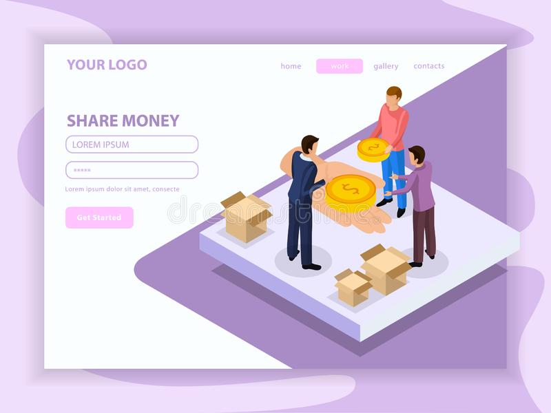 Sharing Economy Isometric Web Page vector illustration