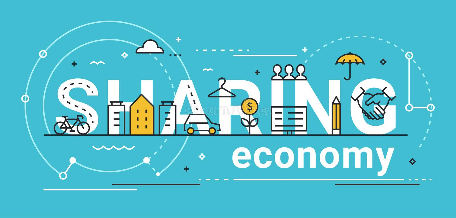 Sharing Economy Line Vector Concept Illustration royalty free illustration