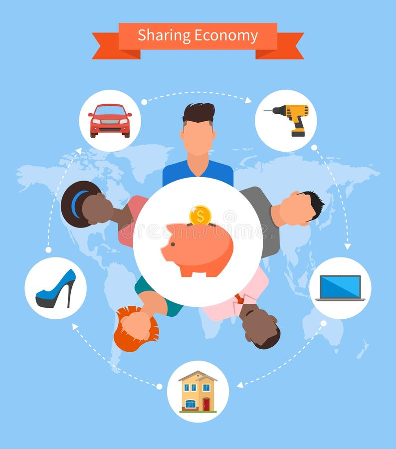 Sharing economy and smart consumption concept. Vector illustration in flat style. People save money and share resources royalty free illustration