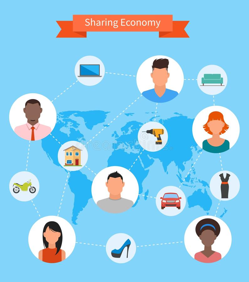 Sharing economy and smart consumption concept. Vector illustration in flat style. People save money and share resources stock illustration