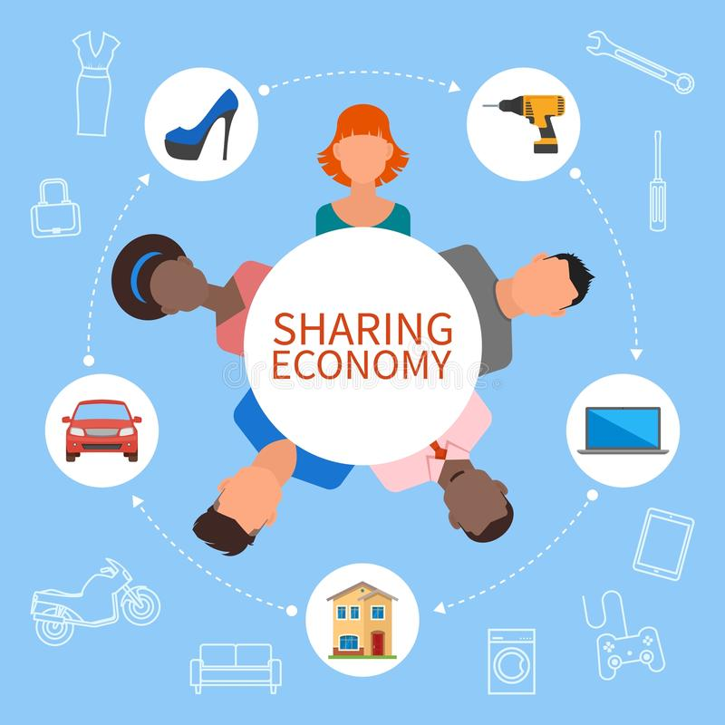 Sharing economy and smart consumption concept. Vector illustration in flat style. People save money, share resources. Sharing economy and smart consumption stock illustration