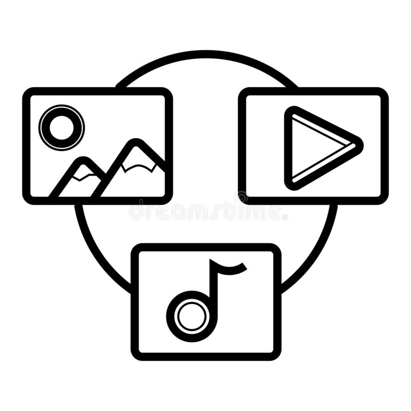 Sharing files and cloud backend as a service. Icon stock illustration