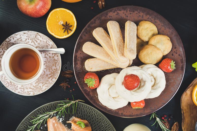 Sharing food christmas party people hands table royalty free stock photos