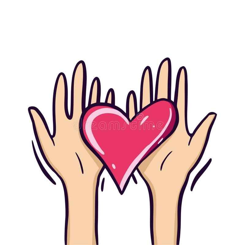 Sharing Hope. Charity and donation. Give and share your love to people. Hands holding a heart symbol. Isolated on white background stock illustration