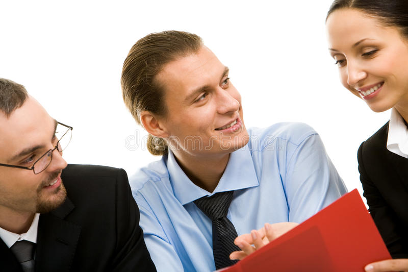 Sharing ideas. Image of business people communicating with each other royalty free stock images