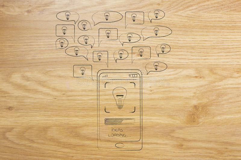 Speech bubbles with light bulbs popping out of a smartphone. Sharing ideas conceptual illustration: speech bubbles with light bulbs popping out of a smartphone royalty free stock photography