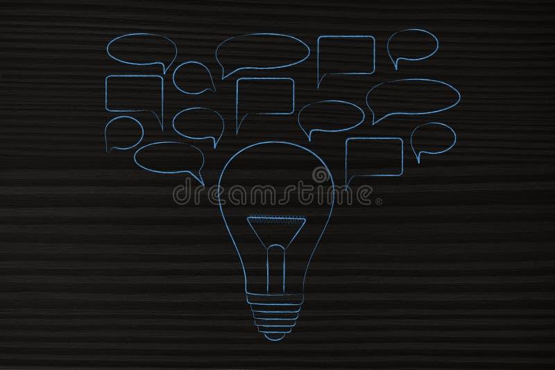 Speech bubbles popping out of a light bulb. Sharing ideas conceptual illustration: speech bubbles popping out of a light bulb stock photo