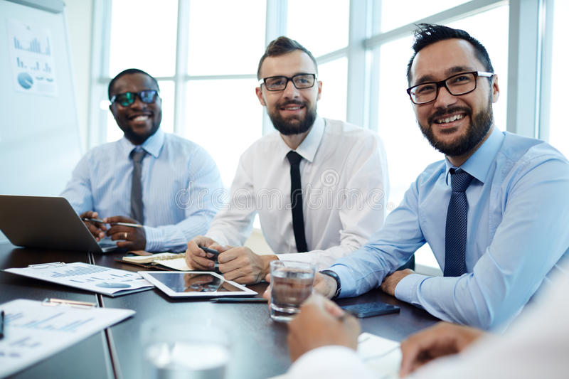 Sharing Ideas with Coworkers royalty free stock photo