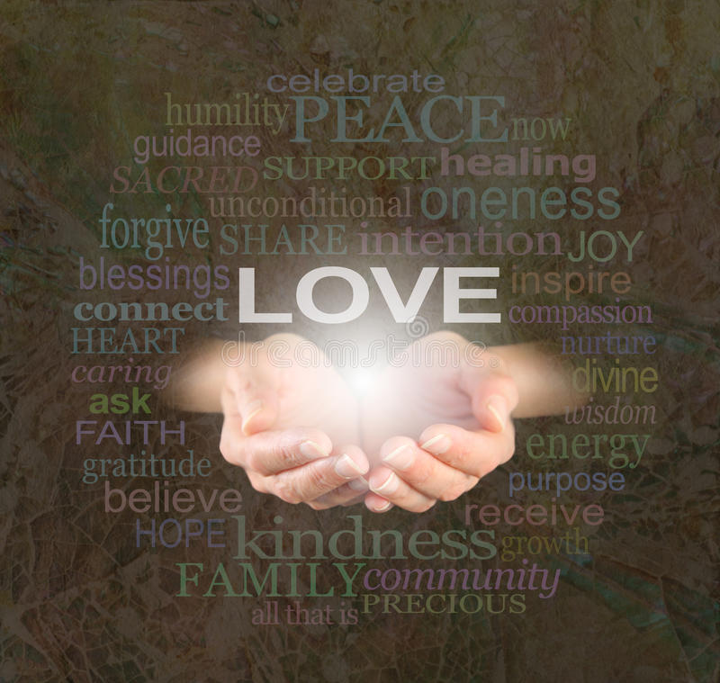 Sharing Love with You. Female hands cupped with the word 'LOVE' floating above surrounded by a word cloud of love related words on a rustic mosaic shell effect stock images