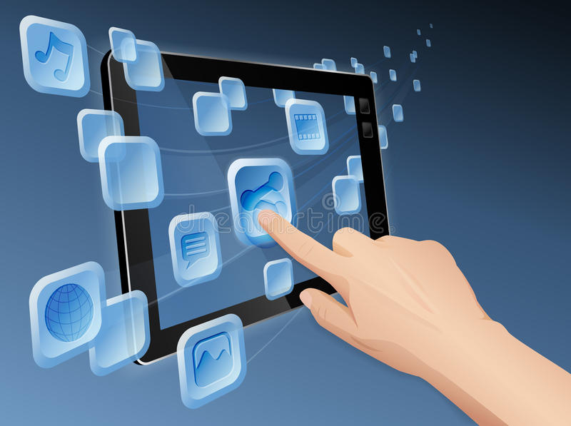Sharing media to web with tablet computer. Vector illustration of hand pressing a flowing share icon to share media to web with modern cloud integrated tablet vector illustration
