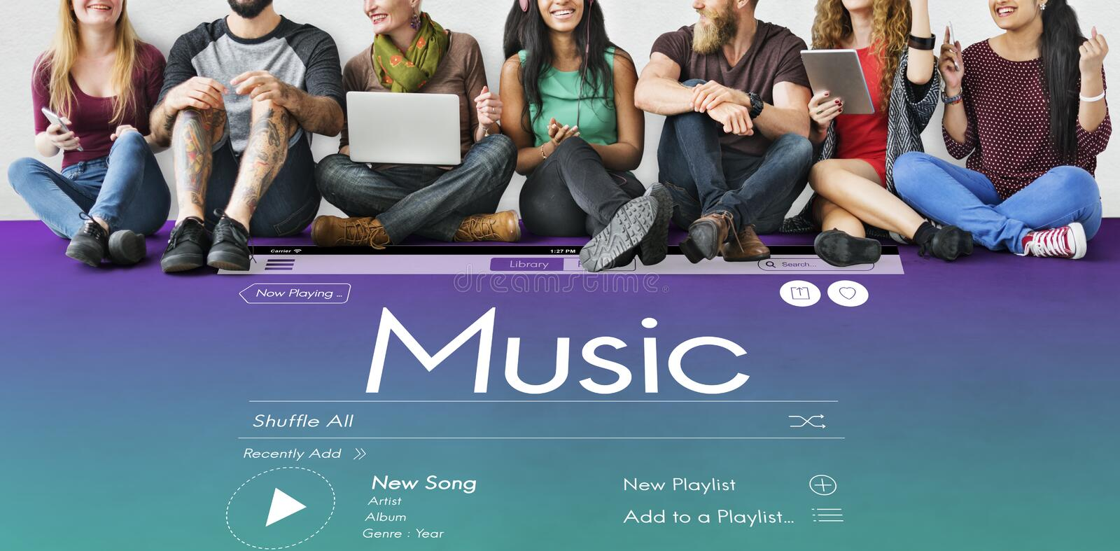 Sharing Music Lover Sitting Concept royalty free stock images