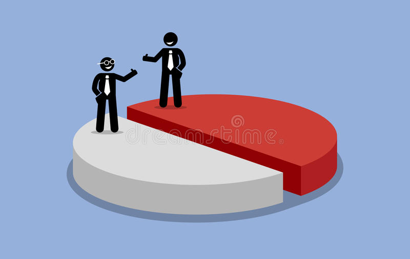 Sharing profit between two shareholders or businessman. royalty free illustration