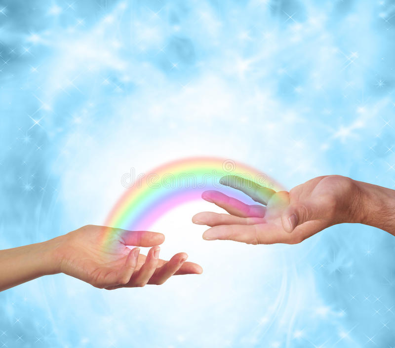 Sharing a rainbow moment stock photos